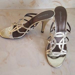 Metallic Gold Calvin Klein Mule Style Heels